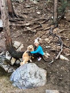 Hiking with golden retriever, Bentley
